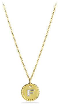 "David Yurman F"" Pendant with Diamonds in Gold on Chain"