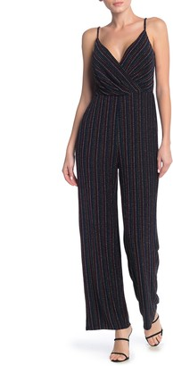 Rowa Striped Glitter Surplice Neck Jumpsuit