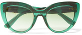Dolce & Gabbana Cat-eye Embellished Acetate Sunglasses - Dark green