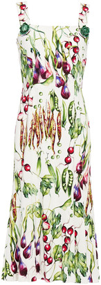 Dolce & Gabbana Embellished Printed Stretch-crepe Midi Dress
