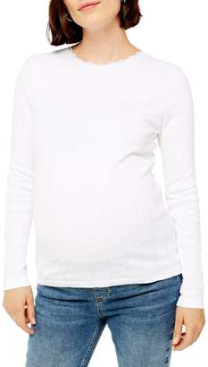 Topshop MATERNITY Long-Sleeve Pointelle Top