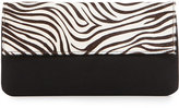 Hat Attack Zebra-Print Calf Hair Flap-Top Clutch Bag, Black/White