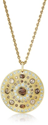 De Beers 18kt yellow gold Talisman Large Medal diamond pendant necklace