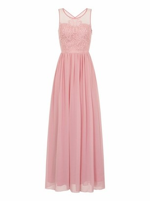 Dorothy Perkins Womens Chi Chi London Mink Embroidered Maxi Dress, Mink