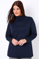 Yours Clothing Navy Turtle Neck Long Sleeved Soft Touch Jersey Top