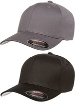 Flexfit Flex fit Premium Original V Cotton Twill Fitted Hat 5001 2-Pack (S-M, Black/Gray)