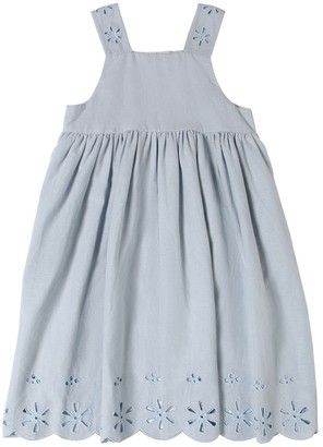 Stella McCartney Kids Linen Dress W/ Eyelet Lace Detail