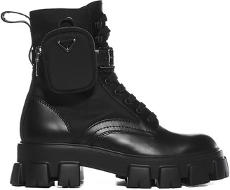 Prada Strapped Pouch Combat Boots