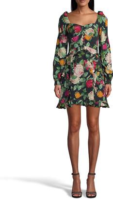 Nicole Miller Rose-Print Silk Crepe De Chine Mini Dress