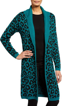 BCBGeneration Leopard-Print Shawl-Collar Long Cardigan