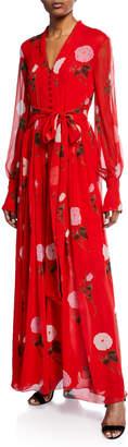 Oscar de la Renta Long-Sleeve V-Neck Floral Maxi Dress