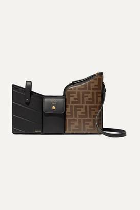 Fendi Embossed Leather And Printed Coated-canvas Shoulder Bag - Black