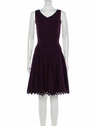 Alaia V-Neck Knee-Length Dress Purple