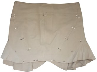 Plein Sud Jeans White Leather Skirt for Women