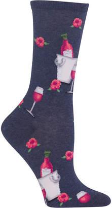 Hot Sox Women Rose Wine Print Fashion Crew Socks