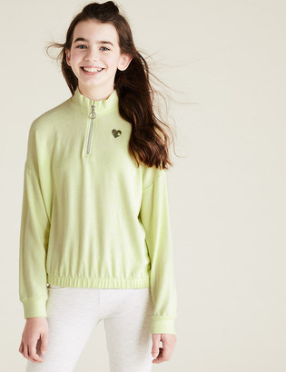 Marks and Spencer Half Zip Cosy Sweatshirt (6-14 Yrs)