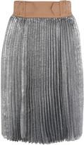 3.1 Phillip Lim Sunburst buckle-waist metallic pleated skirt