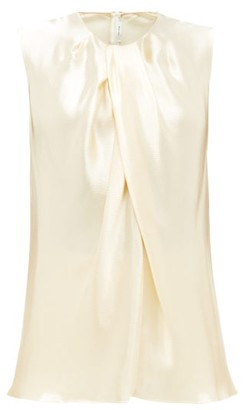 The Row Shira Sleeveless Hammered-satin Top - Cream