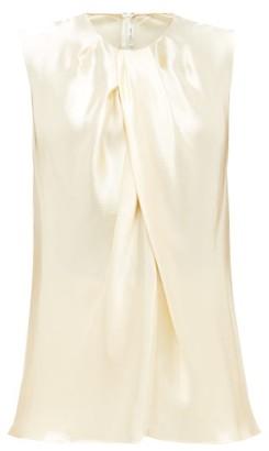 The Row Shira Sleeveless Hammered-satin Top - Womens - Cream