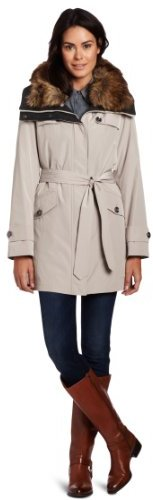 Hilary Radley Women's Belted Anorak With Button Out Warmer And Faux Fur Collar