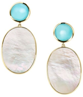 Ippolita Polished Rock Candy 18K Yellow Gold, Turquoise & Mother-Of-Pearl Double-Drop Earrings