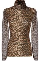Ganni Tilden Leopard Mesh Turtleneck