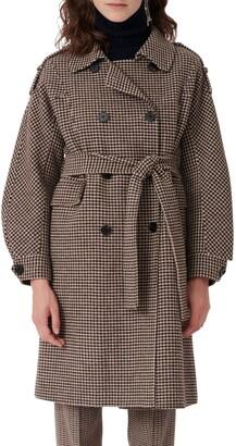 Maje Houndstooth Check Belted Wool Blend Coat