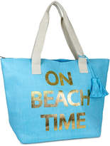 Magid Turquoise 'On Beach Time' Straw Tote