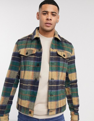 Solid check worker jacket in stone
