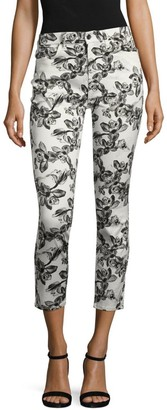 JEN7 by 7 For All Mankind Orchid-Print Cropped Skinny Pants