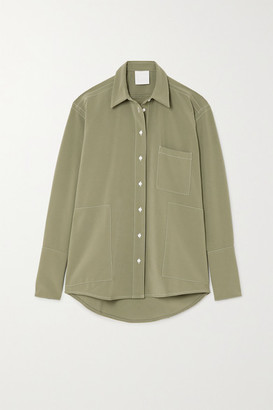 PARIS GEORGIA Harry Topstitched Cady Shirt - Army green