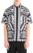 Versace Printed Silk Short-Sleeve Button-Down Shirt