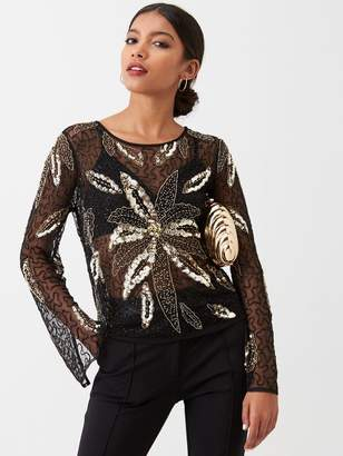 River Island Floral Sequin Long Sleeve Top - Black