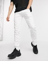 Replay Anbass slim fit zip pocket detail jeans in white