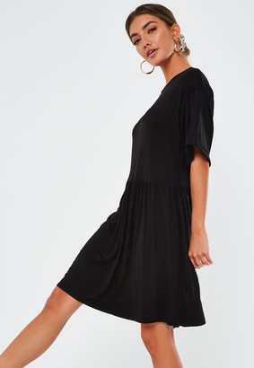 Missguided Tall Black Jersey Smock Dress