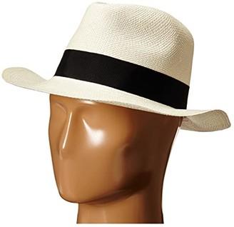Hat Attack Original Panama Fedora with Classic Bow Trim (Bleach/Black) Fedora Hats
