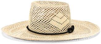 Sensi Studio STUDIO Boater Adjustable Cord Hat in Natural & Black | FWRD