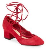 Saks Fifth Avenue Lace-Up Block-Heel Pumps