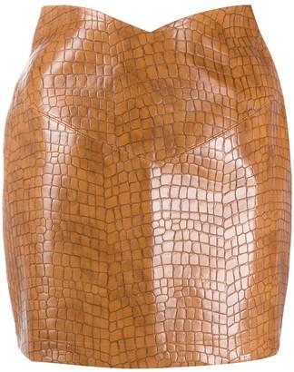 GCDS High Waisted Croc Effect Skirt