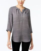 NY Collection Printed Pleated Blouse