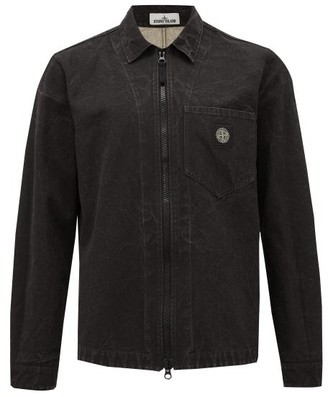Stone Island Garment-dyed Cotton-blend Canvas Overshirt - Mens - Black