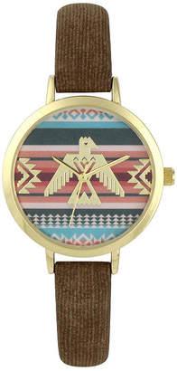 Decree Womens Brown Strap Watch-Pt5289gdbr