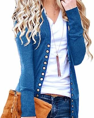 CNFIO Women Long Sleeve Cardigans Lightweight Open Front Knit Sweater Cardigan D-Blue Small/UK 8-10