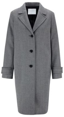 HUGO BOSS Relaxed Fit Coat With Two Tone Herringbone Structure - Patterned