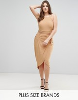 Club L Plus High Neck Wrap Front Slinky Midi Dress