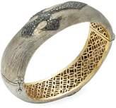 Artisan Women's Black Diamond Cross Oval Bangle Bracelet