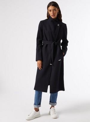 Dorothy Perkins Womens Navy Glossy Funnel Wrap Coat