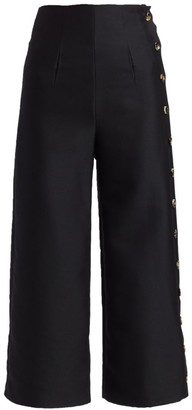 A.W.A.K.E. Mode Wide-Leg Wool & Silk Button Pants
