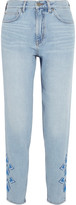 MiH Jeans Linda Cropped Embroidered High-rise Straight-leg Jeans - Light denim