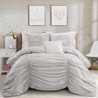 Lush Decor Ruching Ticking Stripe Comforter Set, Multiple Colors